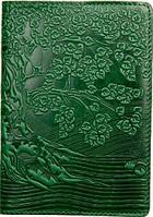 Кожаная обложка на паспорт с узором тиснением. Ассортимент. Украина. Качество. женские и мужские Зелёный