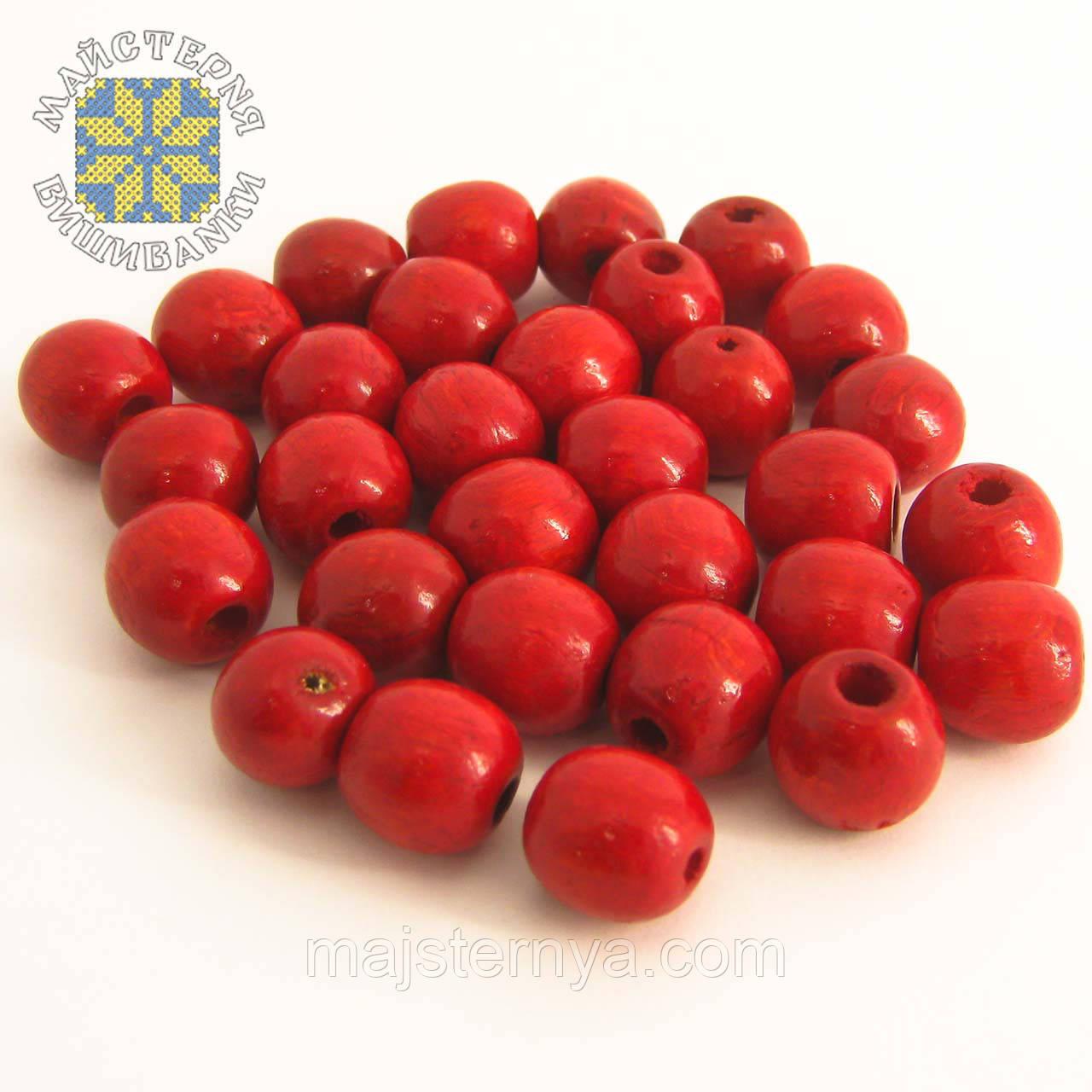 Дерев'яні бусини 1,3см червоного кольору