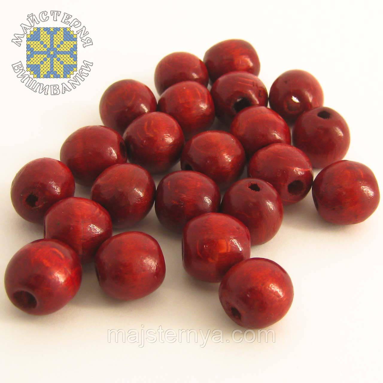 Дерев'яні бусини 1,3см бордового кольору