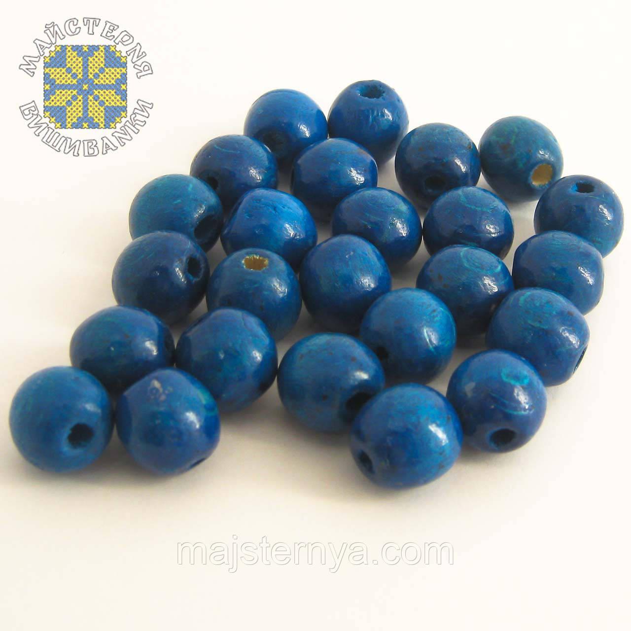 Дерев'яні бусини 1,3см блакитні