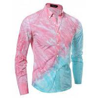 Мужская повседневная / ежедневная Chinoiserie All Seasons Polo Печать Рубашка с воротником Длинные рукава Хлопок Spandex Medium XL