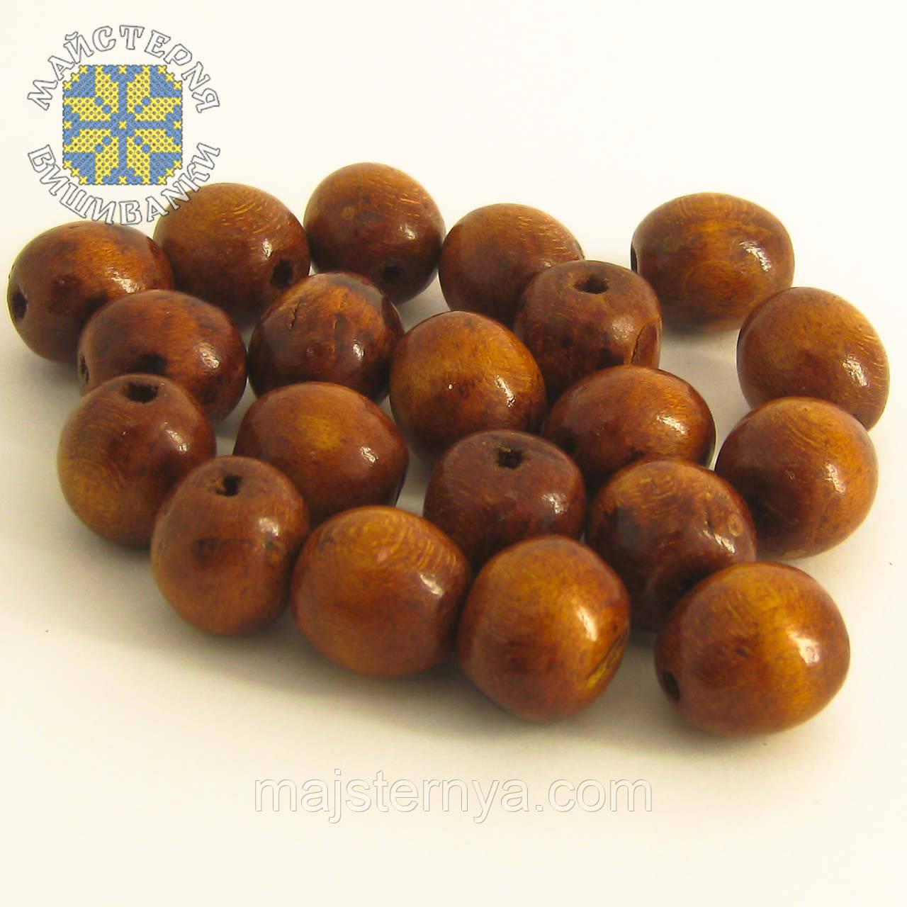 Дерев'яні бусини 1,3см світло-коричневого кольору