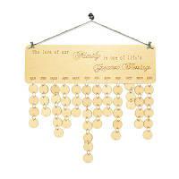 Семейный календарь рождения Деревянная доска для напоминаний DIY круглый