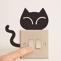 Симпатичные кошки Switch Sticker Cat Head And Tails Switch Decals для детской комнаты 12 x 13 cм