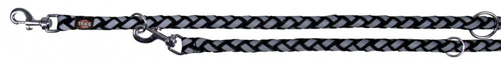 Поводок-перестежка Trixie Cavo Reflect Adjustable Leash для собак светоражающий 12 мм, 2 м