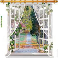 3D-дерево дерева ПВХ стены стикеры падающие листья вид на реку стены наклейки Home Decor 60 х 90 см