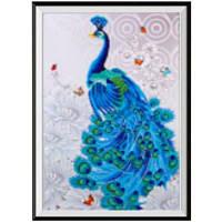 NAIYUE S066 Животный павлин Печатный рисунок Алмазная живопись Алмазная вышивка Синий