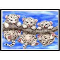 NAIYUE P006 Животный тигр Печатная нить Алмазная живопись Алмазная вышивка Серый и Белый