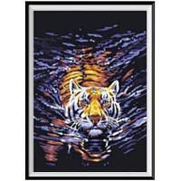 NAIYUE K018 Животный тигр Печать Ничьей Алмазная живопись Алмазная вышивка Коричневый+Золотой+Серый