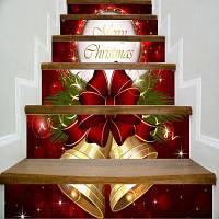 3D Рождественский фестиваль Лестницы наклейки 1set / 6pcs Xmas Подвесные колокола Луки Веселого Рождества Цитата Лестница Стикер для детей R 18 x 100