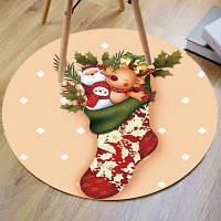 Рождественский чулок Олень Дед Мороз Круглый коврик для ванной ширина24 дюйма * длина24 дюйма