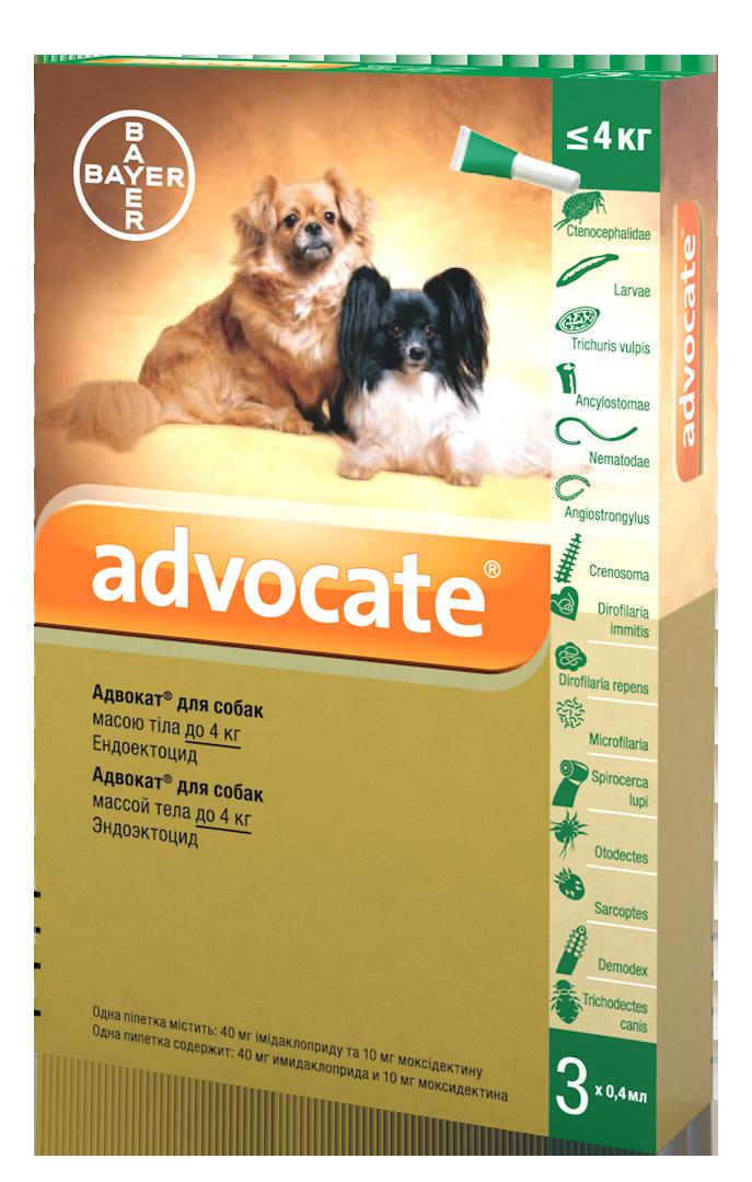 Капли Bayer Advocate (Адвокат) комплексные  паразитов для собак до 4 кг