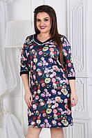 Строгое женское платье прямого кроя с небольшим декольте рукав 3/4 с принтом в мелкие цветы. Арт-6003/94