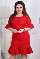 Женское платье прямого кроя с клешем по краям красного цвета. Арт-6027/94