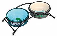 Подставка Trixie Eat on Feet с 2 мисками для собак, керамика, 0.3 л