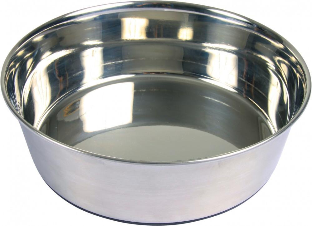Миска Trixie Stainless Steel Bowl для собак, нержавеющая сталь, резиновое основание, 2.5 л