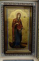 Ровный строгий киот для иконы Богородицы, с внутренней деревянной рамой и золочёными штапиками., фото 1