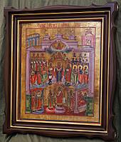Киот для старинной иконы Покрова Богородицы, с внутренней деревянной рамой и золочёными штапиками.