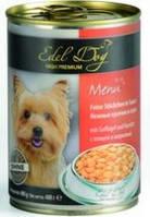 Консервы Edel Dog для собак нежные кусочки в соусе, птица и морковь, 400 г