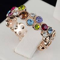 Яркое кольцо с кристаллами Swarovski, покрытое слоями золота 0715