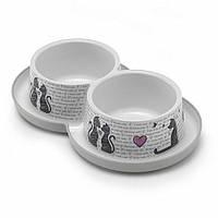 Миска Moderna Double Trendy Dinner Cats in Love для кошек двойная, 2х350 мл