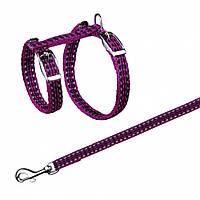 Поводок+шлея Trixie Cat Harness для кошек нейлоновая, светоражающая, 22-42 см, 1.2 м