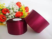 Атласная лента 5 см, цвет ТЕМНО-БОРДОВЫЙ