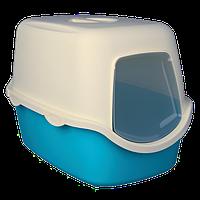 Туалет Trixie Vico Litter Tray для кішок закритий, 40х40х56 см бірюзово-білий