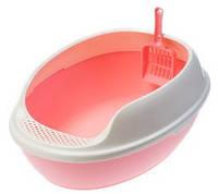 Туалет Gimpet Toilette MD Curve для кошек с рамкой и лопаткой, 50x38x20 см