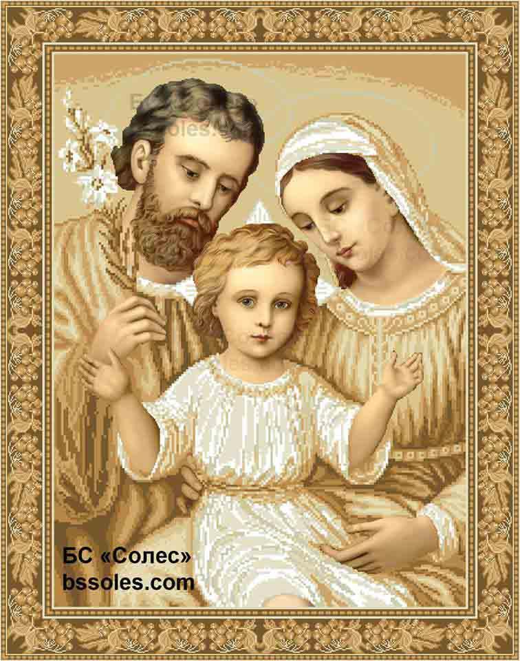 Вишивка бісером Cвяте сімейство в золоті - ОБЕРІГ - Магазин-майстерня  вишиванок в Львове 0642413ecd32d