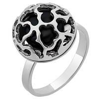 Серебряное кольцо Барокко с черным жемчугом 000050124