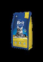 Сухой корм Brit Premium Adult Salmon для взрослых кошек с лососем 8 кг