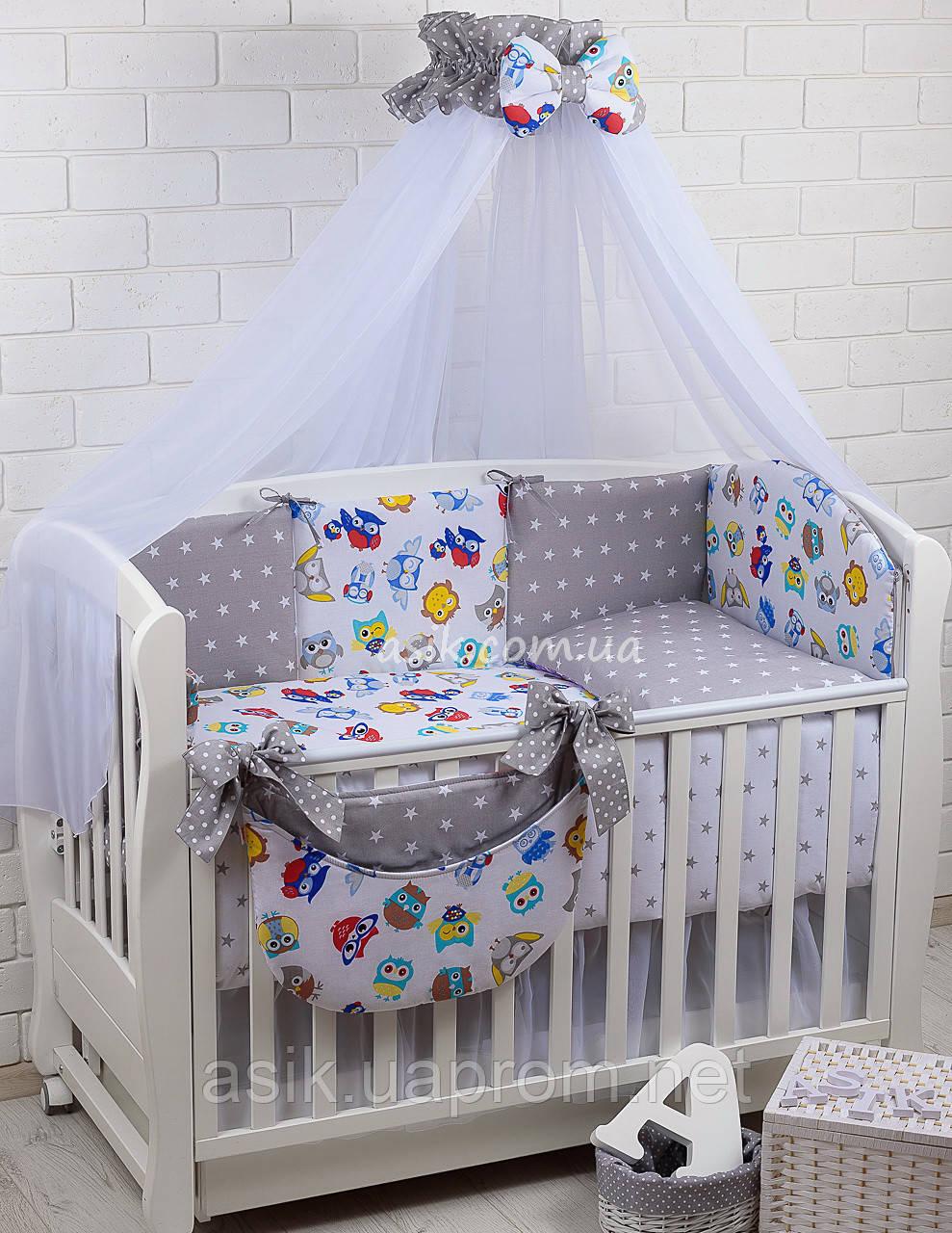 Комплект постельного белья Asik Совы цветные с серыми звёздами 8 предметов (8-258)