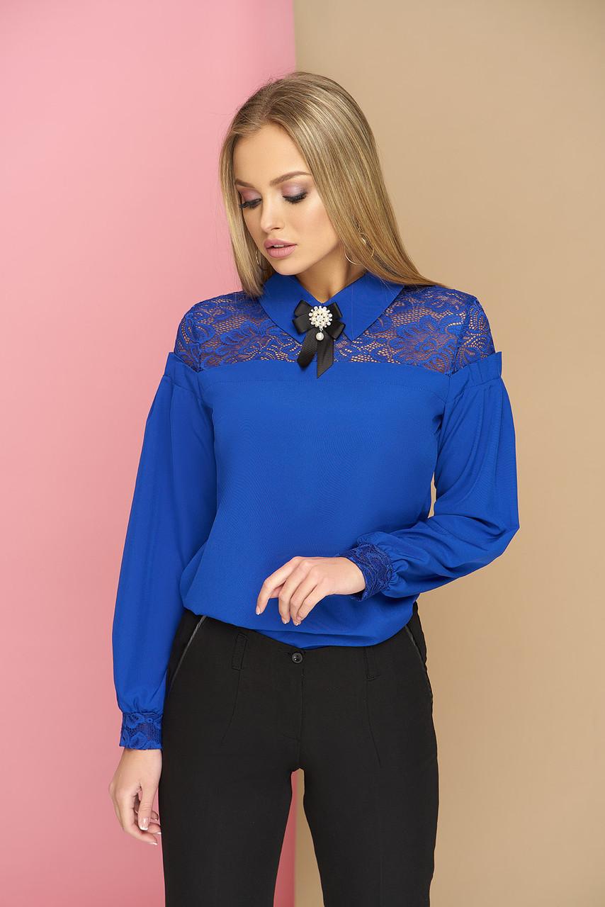 Блуза с кокеткой и брошью Жозе 42-48р