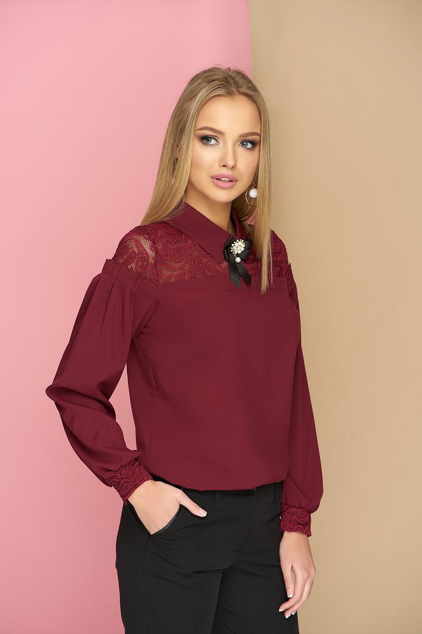 1a439ea2c16 Блуза с кокеткой и брошью Жозе 42-48р  продажа