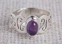 Серебряное кольцо 17.5 размера с аметистом