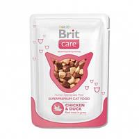 Консервы Brit Care Chicken & Duck для кошек с курицей и уткой, 80 г