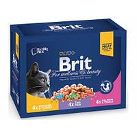 Консервы Brit Premium для кошек семейная тарелка ассорти 3 вкуса,1200 г