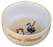 Миска Trixie Honey & Hopper Ceramic Bowl для кроликов, керамика, 0.25 л