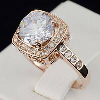 Красивое кольцо с кристаллами Swarovski, покрытое слоями золота 0716