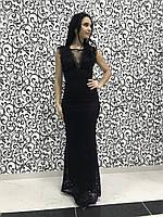 Женское вечернее гипюровое платье в пол