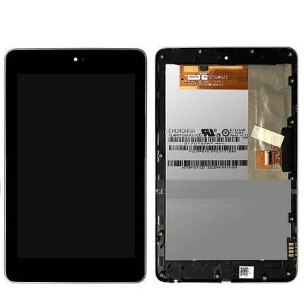 Дисплей (экран) для Asus ME370 Google Nexus 7 (2012) версия Wi-Fi с сенсором (тачскрином) и рамкой черный, фото 2