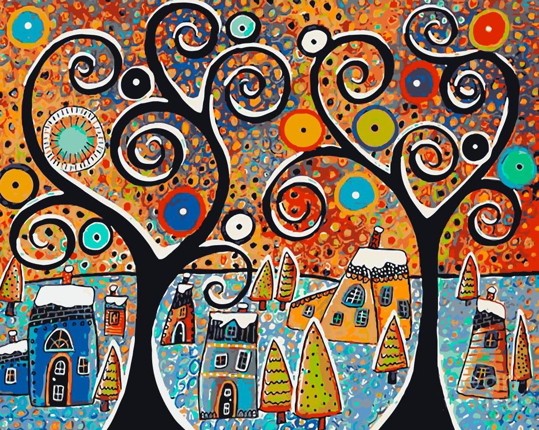Набор для живописи по номерам Зимний городок (KHO2827) Идейка 40 х 50 см (без коробки)