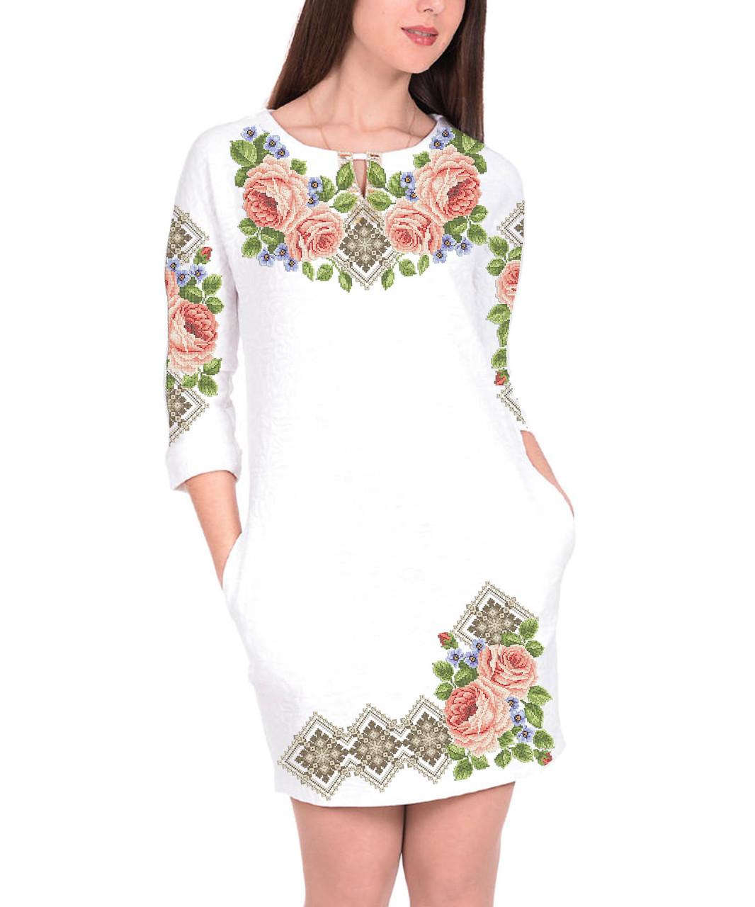Заготовка жіночого плаття чи сукні для вишивки та вишивання бісером Бисерок  «Пишні Троянди» (П-11 ГБ) Габардин