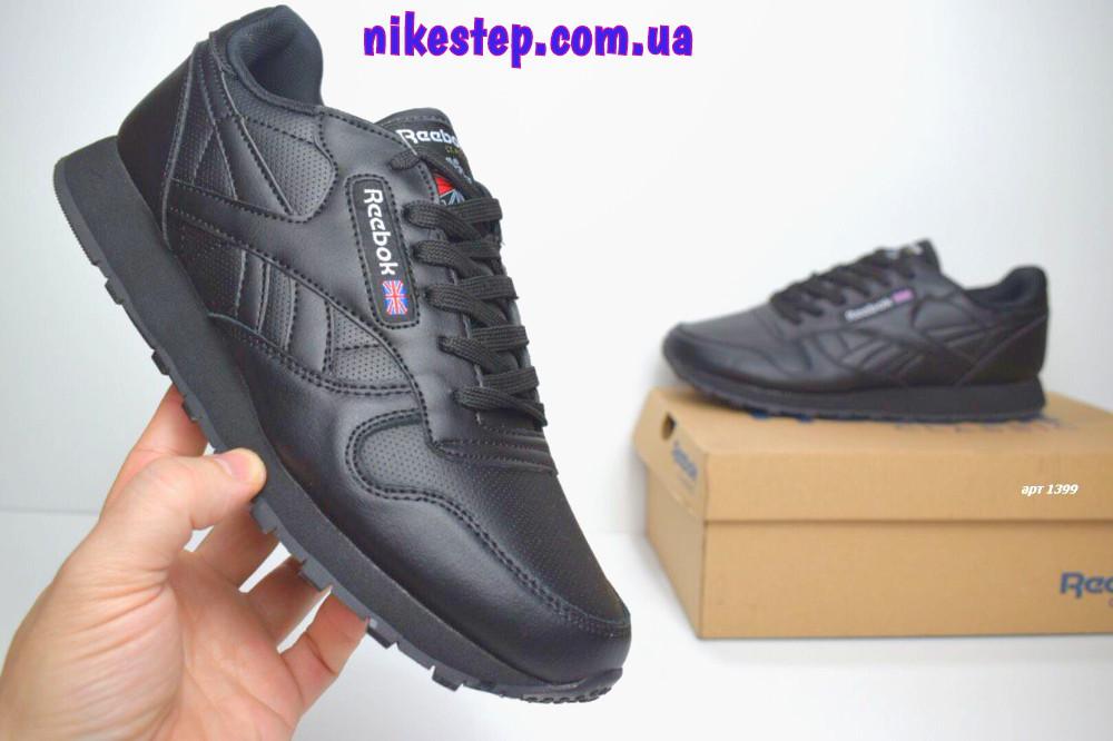 20c5da4bcae4 Мужские кожаные кроссовки Reebok Classic черные люкс копия   продажа ...