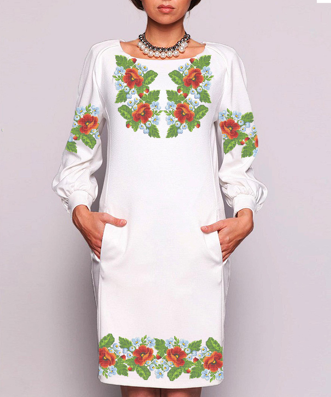 Заготовка жіночого плаття чи сукні для вишивки та вишивання бісером Бисерок  «Розкіш літа» (П-35 ГБ) Габардин