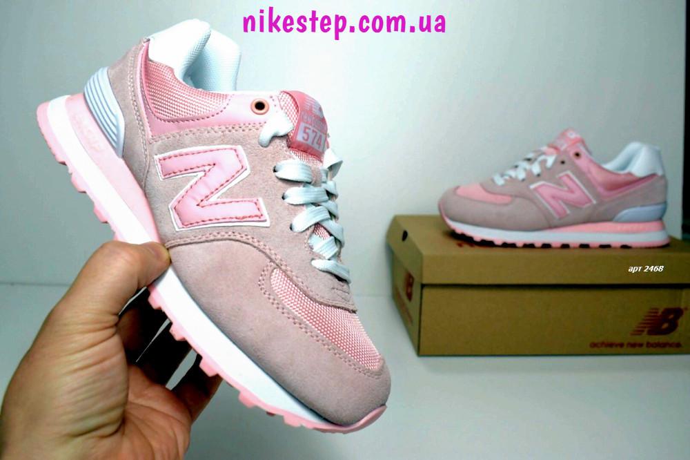Подростковые кроссовки New Balance 574 розовые замша реплика + живые фото ed8bb0ced3a5f
