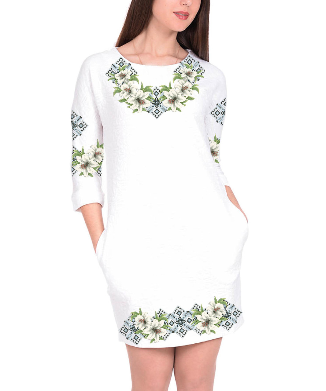 Заготовка жіночого плаття чи сукні для вишивки та вишивання бісером Бисерок  «Ніжні лілії» Габардин df6263d7b31a7