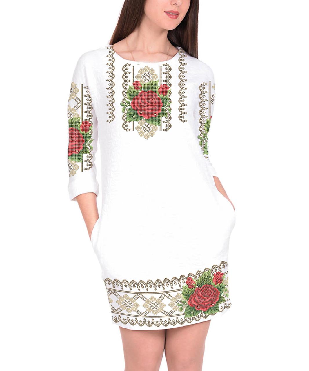 Заготовка жіночого плаття чи сукні для вишивки та вишивання бісером Бисерок  «Троянда в росі» (П-59 ГБ) Габардин