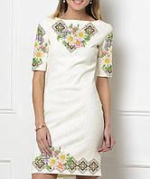 9a7b3636970e03 Заготовка жіночого плаття чи сукні для вишивки та вишивання бісером Бисерок  «Ромашки в коричневому орнаменті